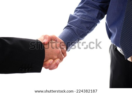 Two businessman giving handshake isolated on white background