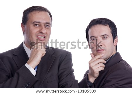 two businessmans thinking with hands in chin