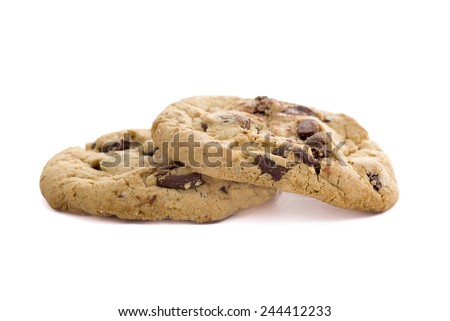 Two chocolate chip cookies on a white background