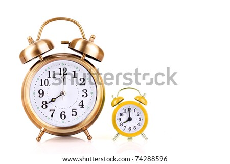 Two clocks    on  white  background