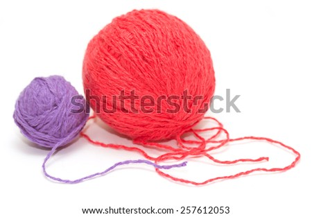 two coil woolen threads on a white background