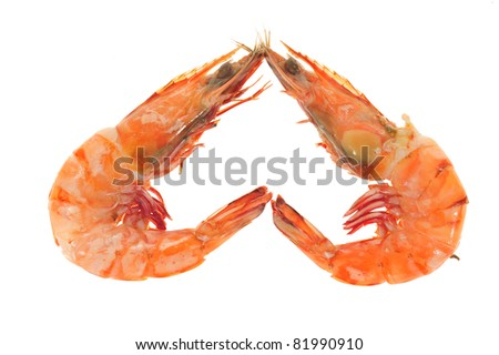 Two Cooked Prawns Arranged In A Inverted Heart Shape