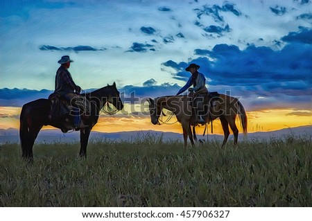 Two cowboys on horseback in Montana,photo art