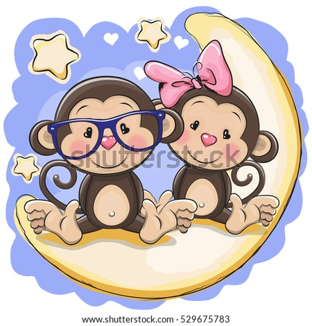 Two Cute Cartoon Monkeys On Heart Stock Vector 414402511 ...