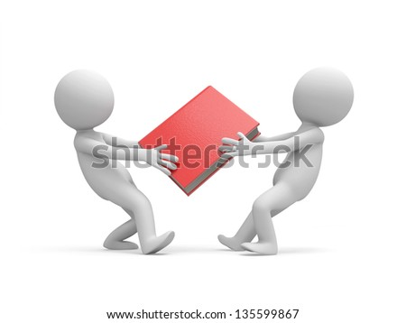 Two 3d men snatching a red book