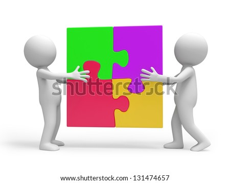 two 3d people putting up a puzzle