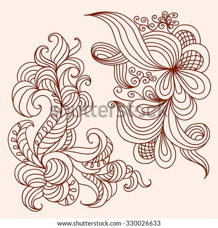 Two decorative doodle patterns. Henna tattoo templates