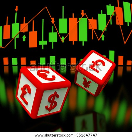 Two dices with currency symbols om it in flying, and background with  chart of japan candlesticks. 3d rendered image.