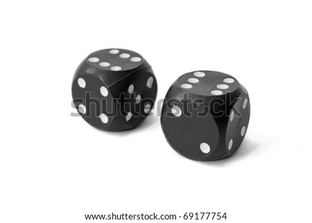 "two dices with ""six' on top sides"