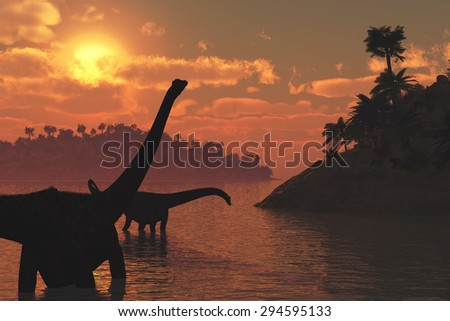 Two diplodocus dinosaurs roaming in the late day sun - 3d render.