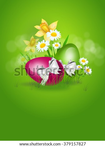 Two easter eggs in grass with spring flower decoration illustration