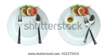 Two empty dirty plate isolated on white background with clipping path.