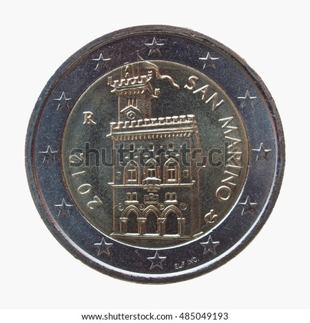 Two euro (EUR) coin from the Republic of San Marino - legal tender of the EU - isolated over white background