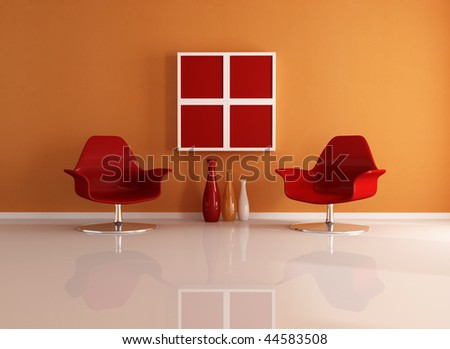 two fashion armchair in a essential living room - rendering