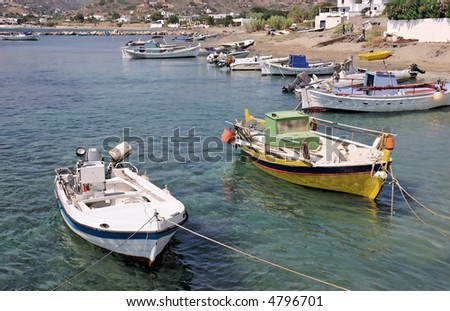 Two fishing boats in Greek Island port
