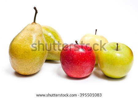 Two fresh green pears and three apples in red, green and yellow color. Group of juicy ripe fruits.  Isolated on white background.
