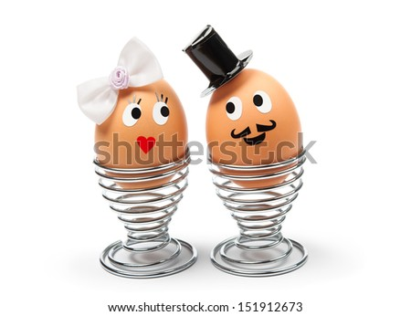 two funny cheerful eggs groom bride stock photo 151912673