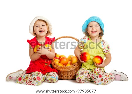 two funny girls with apple harvest