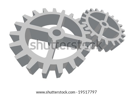Two gears connected. Vector in my portfolio