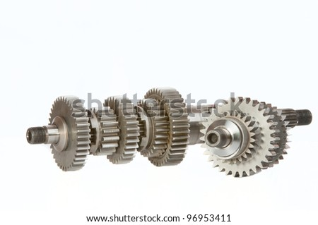 Two gearshafts , shot in studio over a white background.