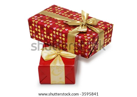 Two gift boxes isolated on the white background