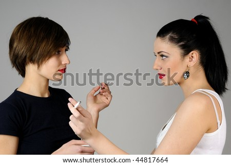 two girls smoking