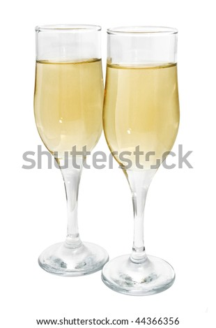 Two glasses of champagne isolated on white
