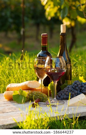 Two glasses of red and white wine, bottle, cheese and baguette