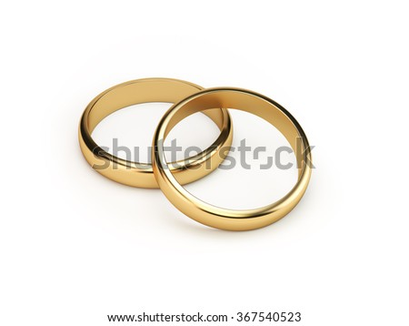 Two golden wedding rings on isolated white background symbolizing marriage, love, relationships, proposals, valentine's day, engagement etc...