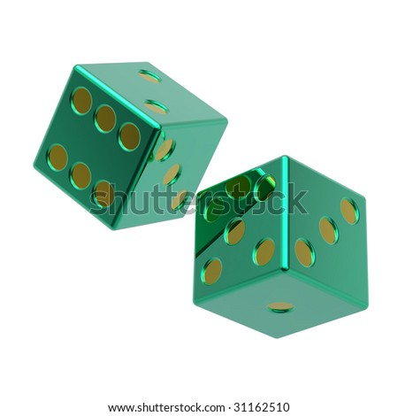 Two green dices isolated on white. Computer generated 3D photo rendering.