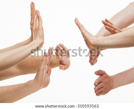 Two group of people greeting each other, white background
