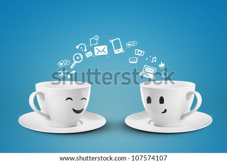 two happy cups, social media icons