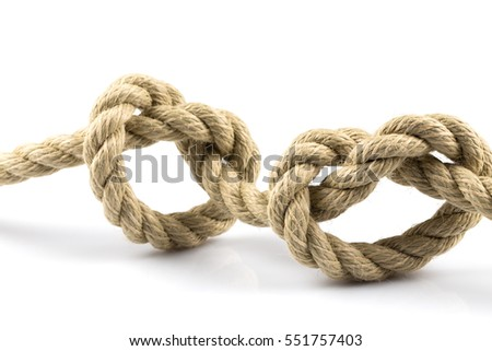 Two heart shape knots of rope isolated on white background