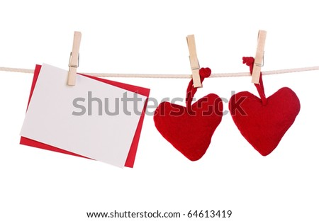 Two hearts and blank card isolated on white background