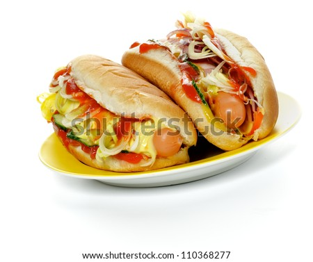 Two Hot Dogs on Yellow Plate isolated on white background