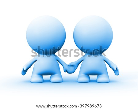 two human characters in blue holding hands (3d illustration)