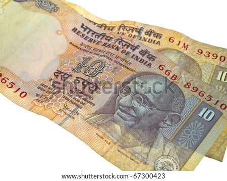 Two India banknotes isolated on white background