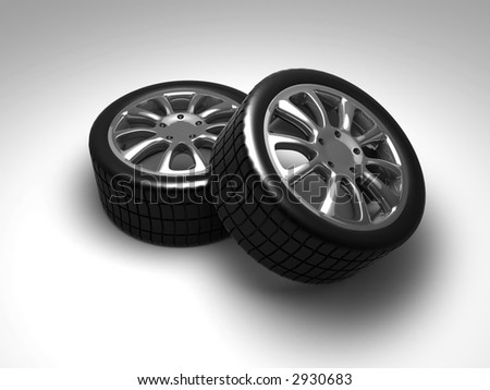 Two isolated car wheels on white surface