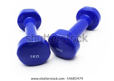 Two 1kg dumbbell over white background