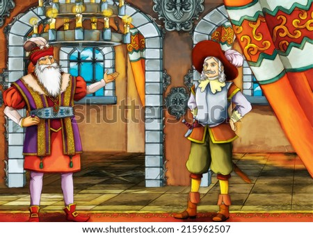 Two kings - fairy tale scene for different stories - illustration for the children