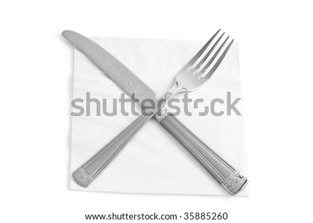 two kitchen utensils. fork and knife isolated on white