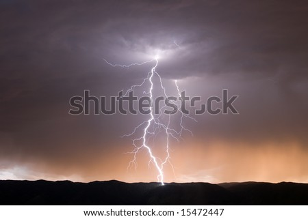 Two Lightning Bolts at Dusk