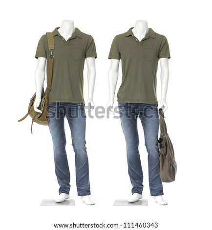 two male mannequin dressed in jeans with shirt