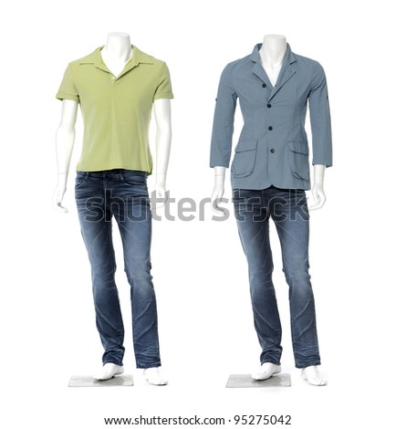 Two male mannequin dressed in shirt and jeans and isolated