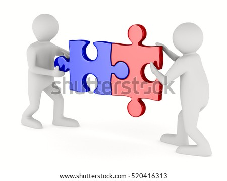 Two man with puzzle on white background. Isolated 3D image.