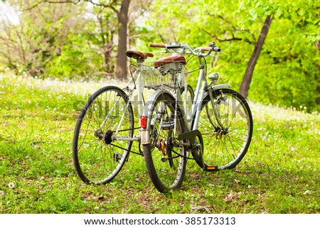 Two old bicycles, concept for love or friendship couple