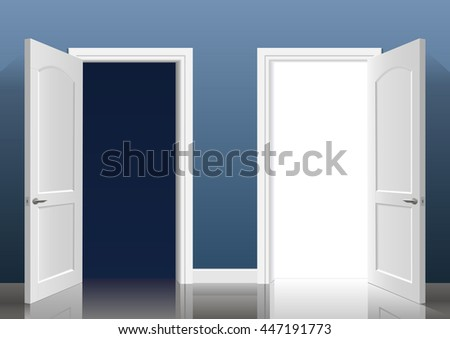 Two open doors into the light and dark blue in the interior of the room.