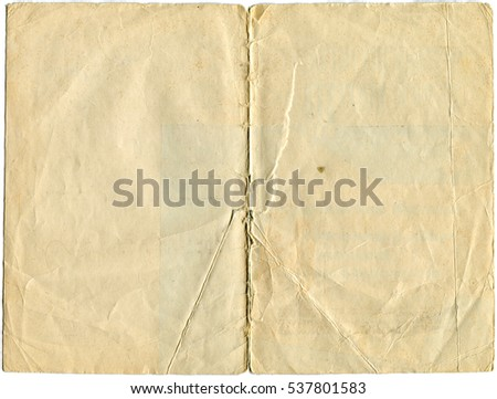 two pages on old and worn paper isolated on white background