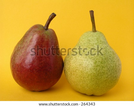 Two pears red and green