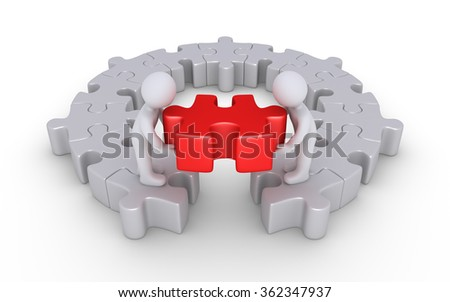 Two people are putting the last puzzle piece of a round puzzle
